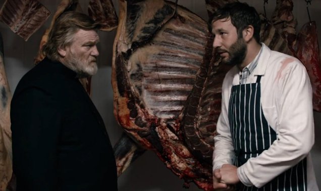 Breedan Gleeson and Chris O'Dowd in CALVARY.