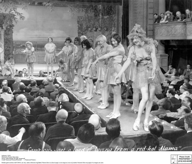 APPLAUSE (1929): Burlesque matron Helen Morgan (far right) titillates the crowd, but shocks her prim daughter.
