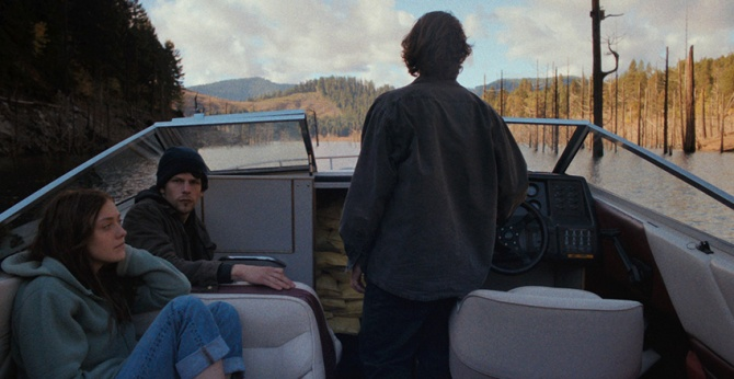Dakota Fanning, Jesse Eisenberg and Peter Sarsgaard in NIGHT MOVES, directed by Kelly Reichardt. Photo credit: Tipping Point Productions. Courtesy of: Cinedigm.