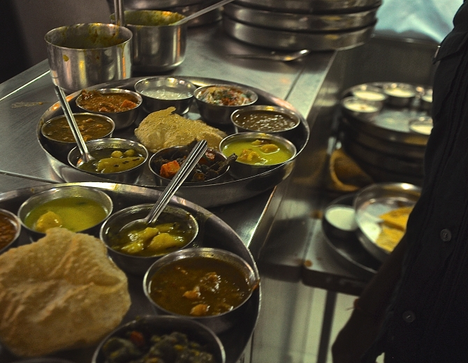 Vegetarian thali at Pancham Puriwallah. Photo by Raj Rishi More.