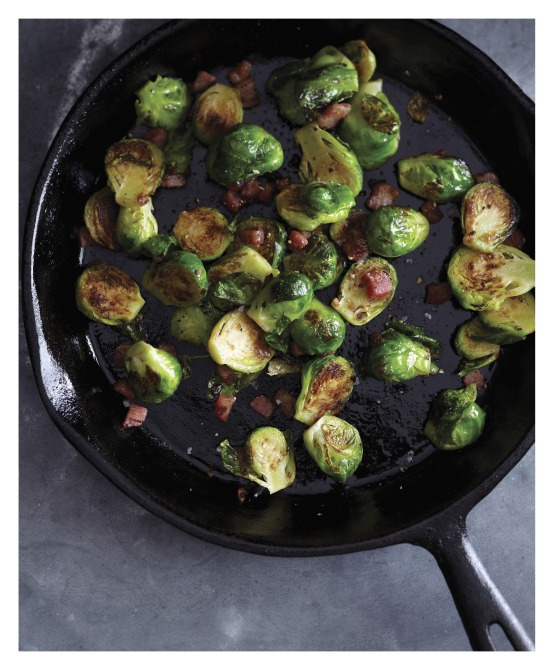 BRAS Charred  Brussels Sprouts with Pancetta and Fig Glaze image p 59