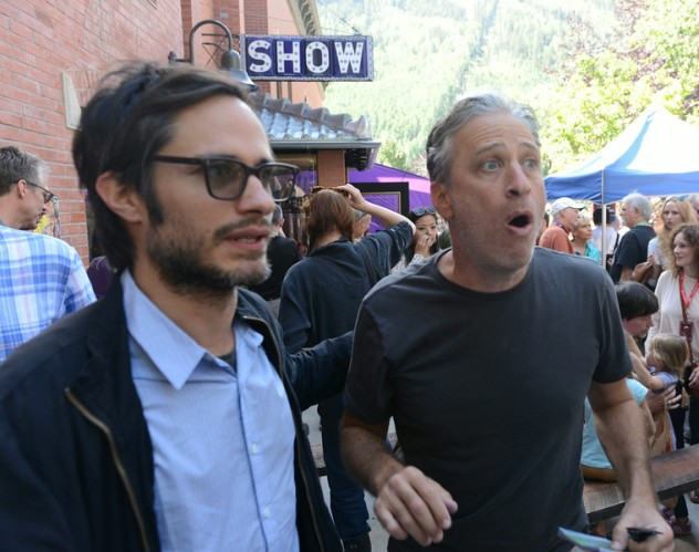 Gael Garcia Bernal and Jon Stewart. Photo by Vivien Killilea/Getty Images.