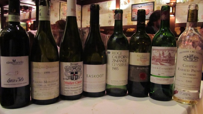 A selection of 40th birthday wines, Chez Panisse, Berkeley