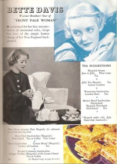 "Bette enjoys ham biscuits with her tea in an ad for Bisquick in 1935's ""Front Page Woman."""