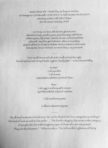 "Menu for Borja's 52nd salon dinner, inspired by Peterness' ""Twelve Recipes."""