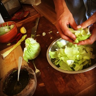 Iceberg lettuce for the goddess salad.