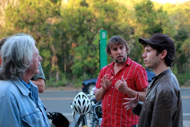 James Benning and Richard Linklater with DOUBLE PLAY director Gabe Klinger