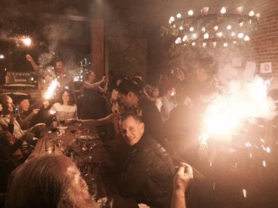 Sparklers and celebration inside Camino. Photo by Cari Borja.