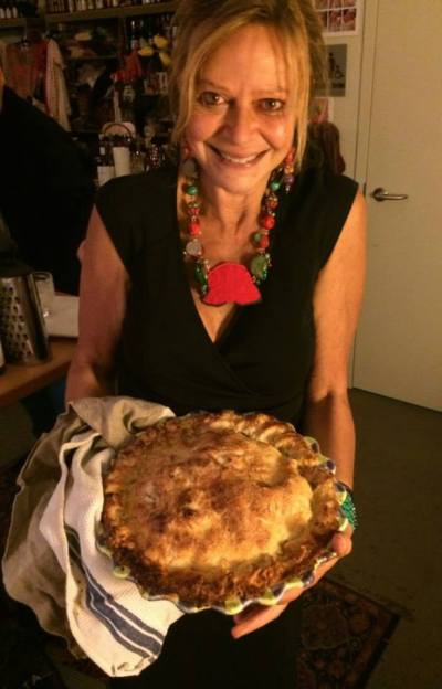 Joyce Maynard and her Labor Day apple piece, at Salon Dinner No. 43. April 19,2014. Photo by Cari Borja.