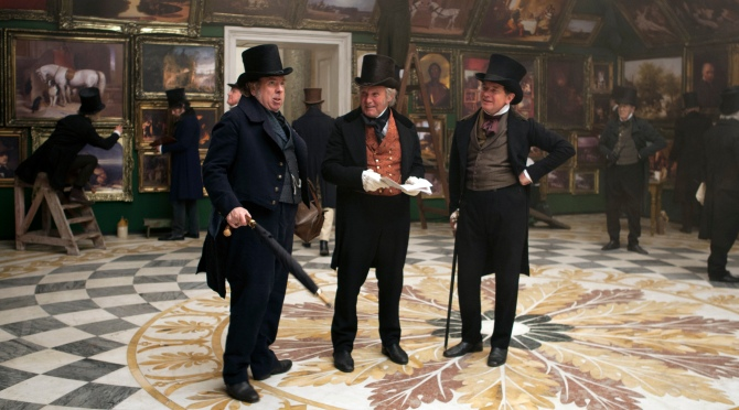 Timothy Spall as J.M.W. Turner, Clive Francis as Sir Martin Archer Shee and Simon Chandler as Sir Augustus Wall Callcott in Mr. Turner . (Photo by Simon Mein.)