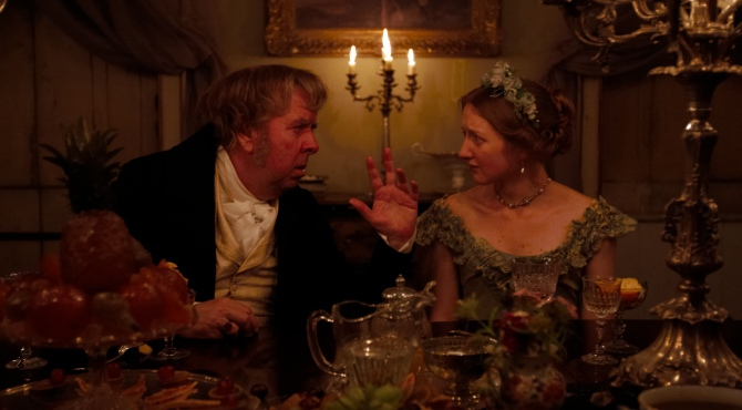 Timothy Spall as J.M.W. Turner and Eleanor Yates as Effie Ruskin in Mr. Turner . (Photo by Simon Mein.)
