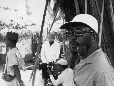 Ousmane Sembène on set.