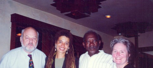 Dusan Makavejev, Angela Davis, Ousmane Sembène and Alice Waters at Chez Panisse.