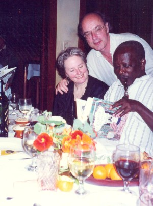 Tom Luddy, Alice Waters and Ousmane Sembène reading Fanny at Chez Panisse .