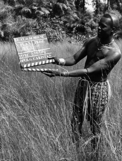 On the set of Emitai , 1971. Credit: Photo courtesy of Sembène Estate.