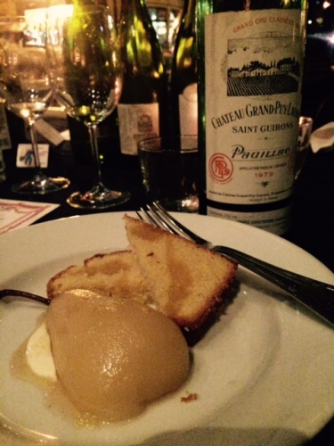 A 1979 Grand-Puy-Lacoste Guirons Pauillac with Prune 's poached pear dessert. Photo by Cari Borja