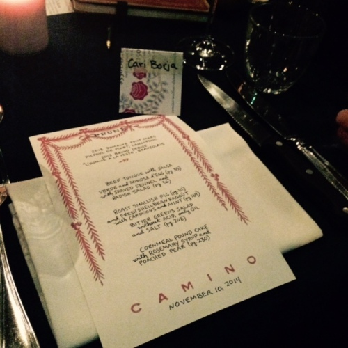 "Book-signing dinner for ""Prune"" by Gabrielle Hamilton. November 10, 2014. Photo by Cari Borja"