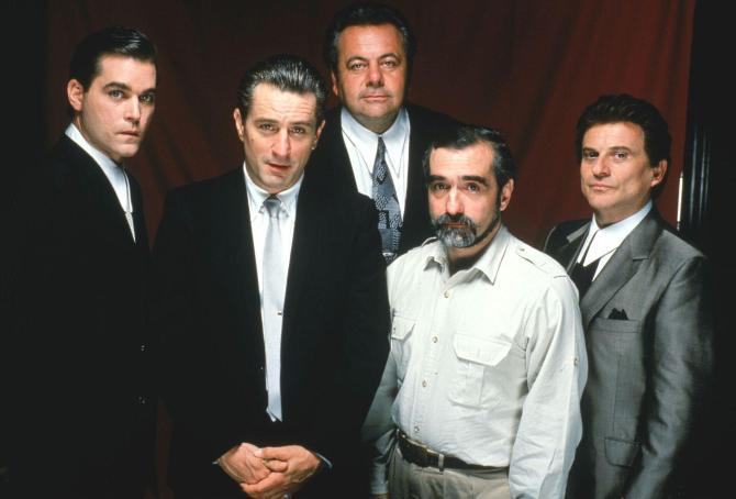 Ray Liotta, Robert De Niro, Paul Sorvino, Martin Scorsese and Joe Pesci in publicity still for Goodfellas