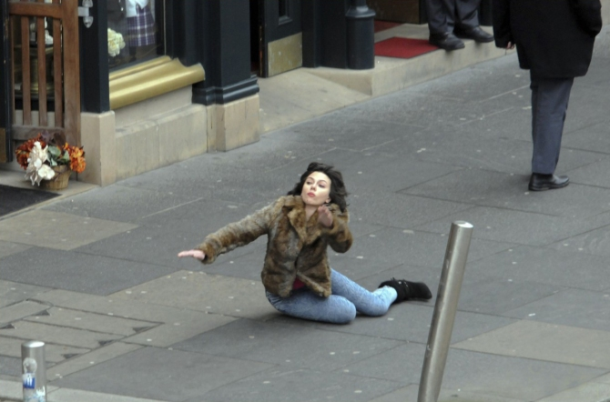Scarlett Johansson Fliming 'Under the Skin' in Glasgow