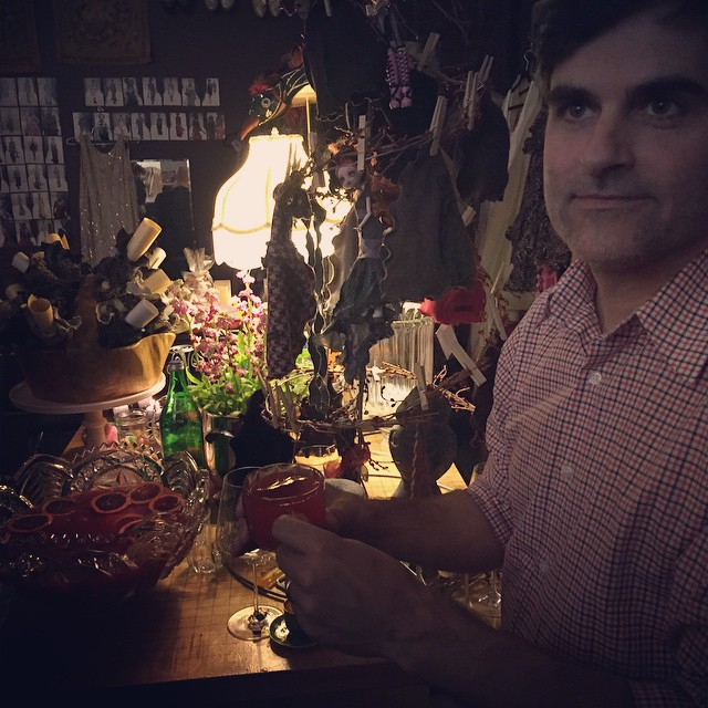 Greg and his cocktail, in context—my 4th Street studio, Berkeley.