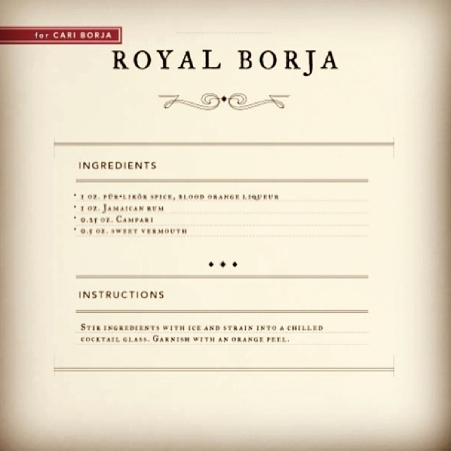 Royal Borja cocktail, for pür spirits book, created by Tamara Costa.