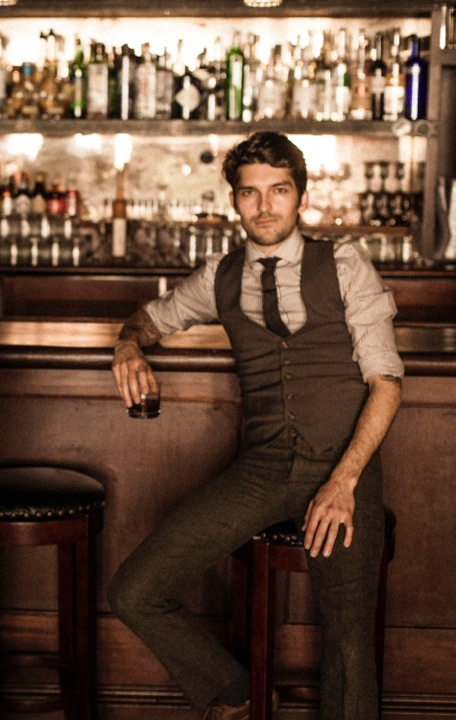 Jared Anderson, bartender at 15 Romolo and Comstock Saloon, SF. Shot at the Burritt Room, SF. (Photo by Kelly Puleio)