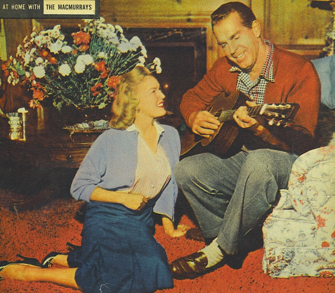 When Fred MacMurray wasn't cooking up a storm at the family ranch, he'd serenade wife June Haver.