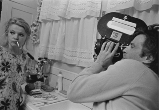 """Take a deep drag and think of my mom's kourabiedes."" Gena Rowlands and John Cassavetes at work on some kitchen-sink drama.]"