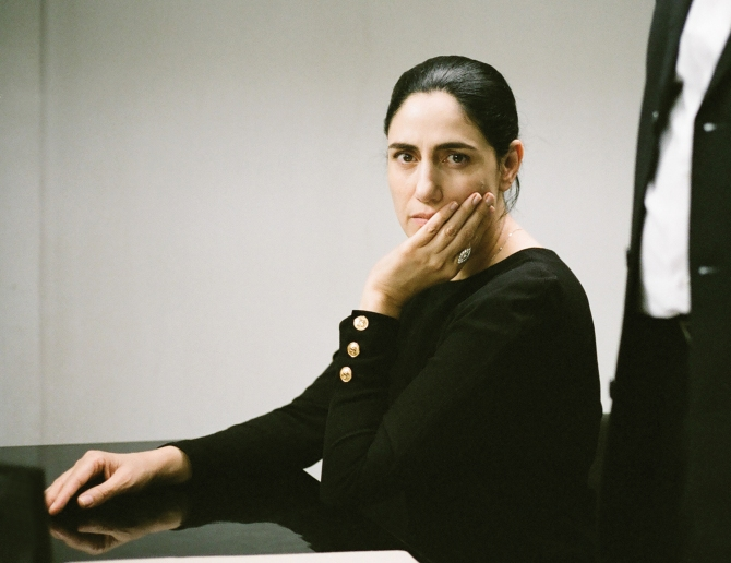 Viviane (Ronit Elkabetz), Carmel (Menashe Noy) and Shimon (Sassan Gabay) in Gett . Credit: Courtesy of Music Box Films.