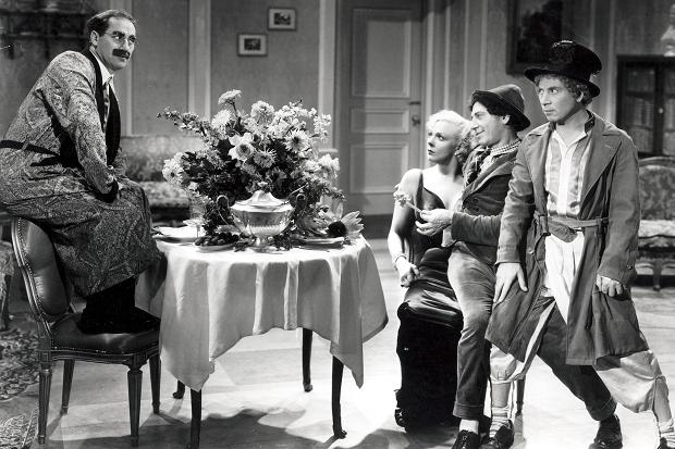 The Marx Brothers and Thelma Todd in Horse Feathers (1932).