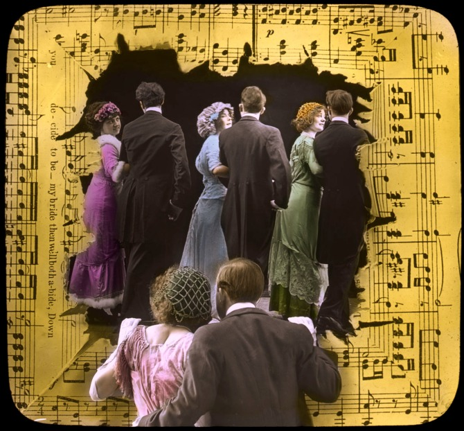 "Slides from the illustrated song ""At the Ragtime Ball"""