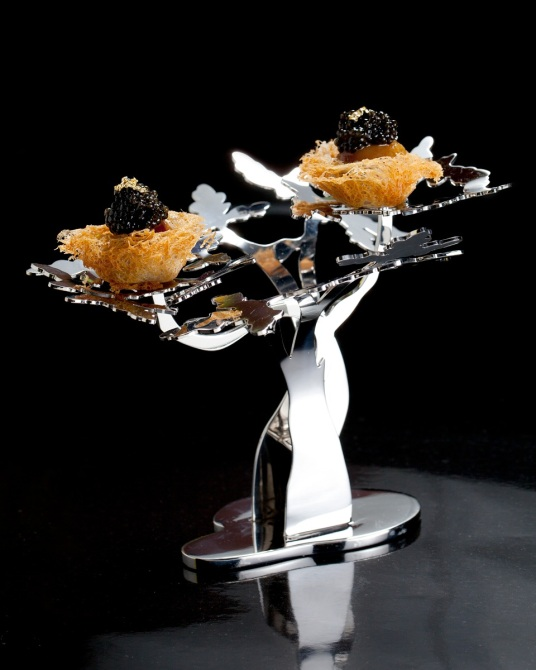 Caviar Bird's Nest on Silver