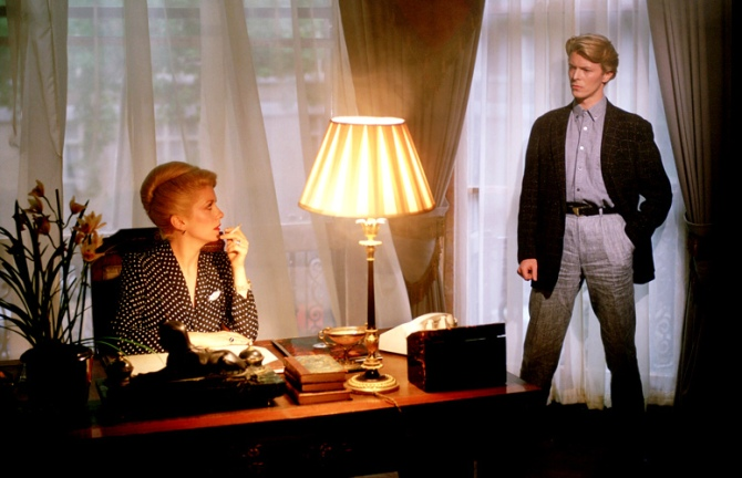 Blond on blond: Bowie meets his match in Catherine Deneuve in Tony Scott's trashtastic The Hunger.