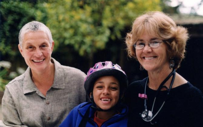 "Nancy ""Fu"" Schroeder and Dr. Grace Dammann with their daughter Sabrina in 2003"