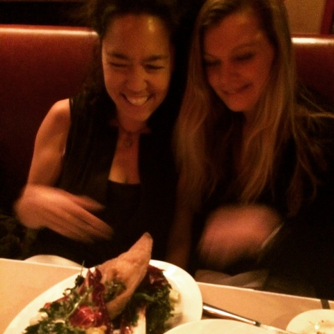 Susan and me, and a pig's ear salad, at Spotted Pig, West Village.