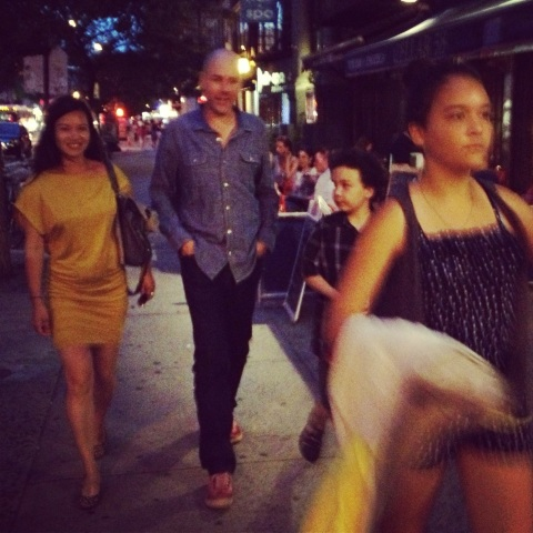 Kim Dang with Lloyd, August, and Royal leading the way. East Village, 2013.