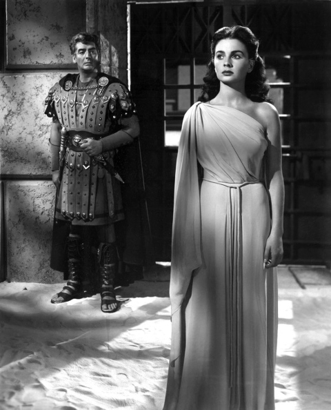 Paganism on the horizon: Jean Simmons is preposterously pretty in Androcles and the Lion, while Victor Mature looks good in a leather skirt.