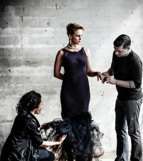 Jake Wall and I, with model Kimberly Rosselle. Credit: Photo by Kelly Puleio.