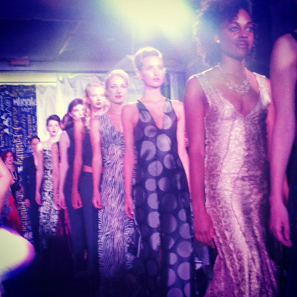 Finale model walk of my gowns for Suit Up, 2013. Credit: Photo by Leah Garchik.
