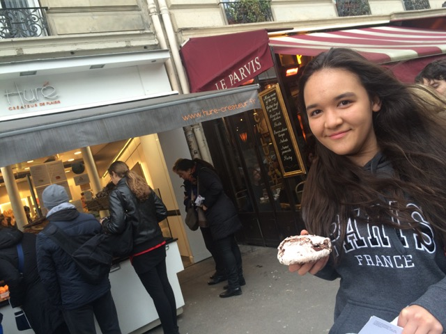 Royal with a double chocolate merengue, that I, of course, prompted her to buy at Hure on Rue d'Arcole.