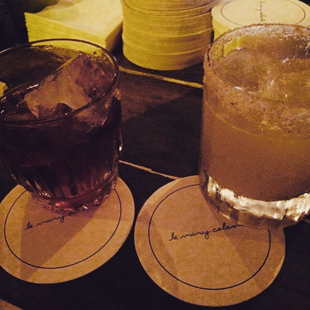 "The end of an evening—the ""curado"" times two at Le Mary Celeste, 1 Rue Commines, La Marais."
