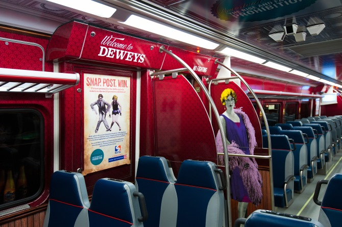 "National Constitution Center's Speakeasy Silverliner Train Car in ""American Spirits."""