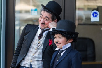 Al Proietti (left) and Ethan Miller, 9, ham it up at the Charlie Chaplin Days lookalike contest in Niles on Saturday outside the Niles Essanay Silent Film Museum.