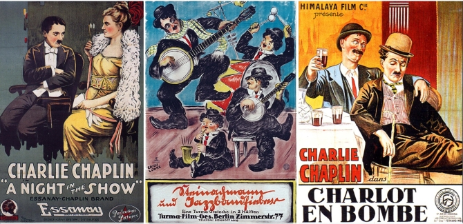 """Essanay posters from England, Germany and France demonstrate Chaplin's international appeal."""" Courtesy of http://theblackmaria.org/2014/08/14/the-importance-of-being-chaplin/"""