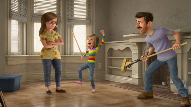 INSIDE OUT - Pictured (L-R): Riley's Mom, Riley Andersen, Riley's Dad. ©2015 Disney•Pixar. All Rights Reserved.