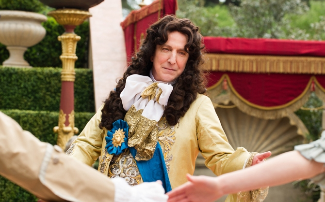 Alan Rickman as King Louis XIV in A Little Chaos. Credit: Alex Bailey/Focus Features.