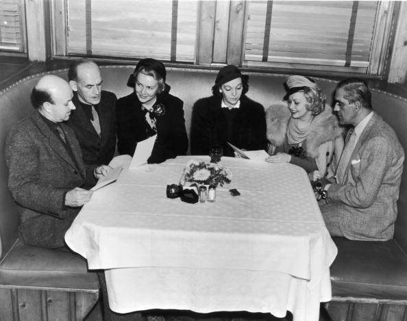 ZaSu (third from right) was known to attend a charity luncheon or two. Here she is a with a jovial group that includes (far right) Boris Karloff. Credit: General Photographic Agency/Hutton Archive/Getty Images.