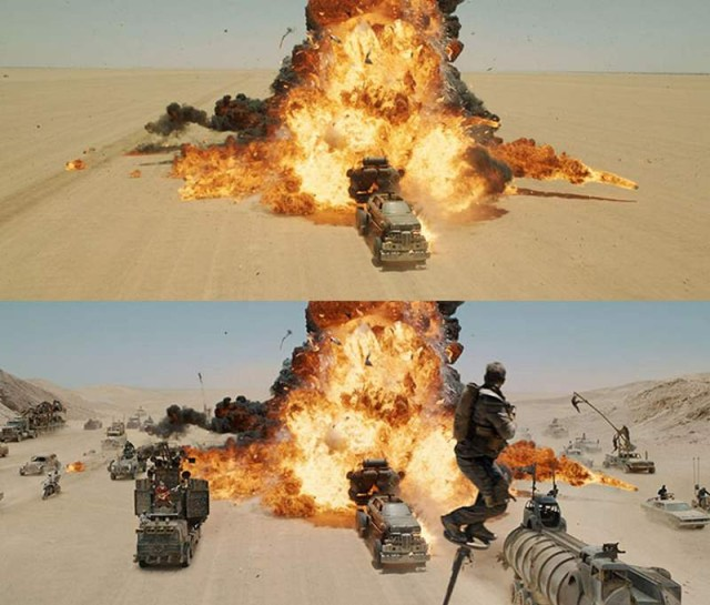 Before-and-after visual effects in Mad Max: Fury Road. Credit: fxGuide/wordlesstech.com.