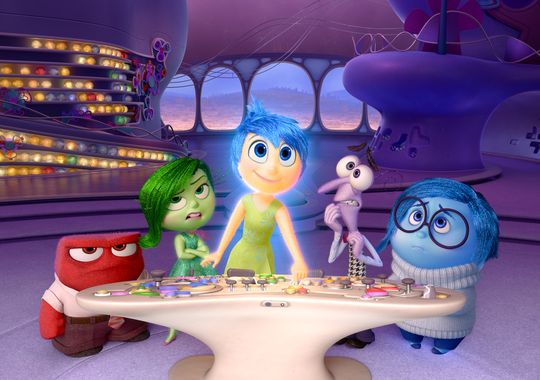 Still of the emotions, from Pixar's Inside Out (2015).