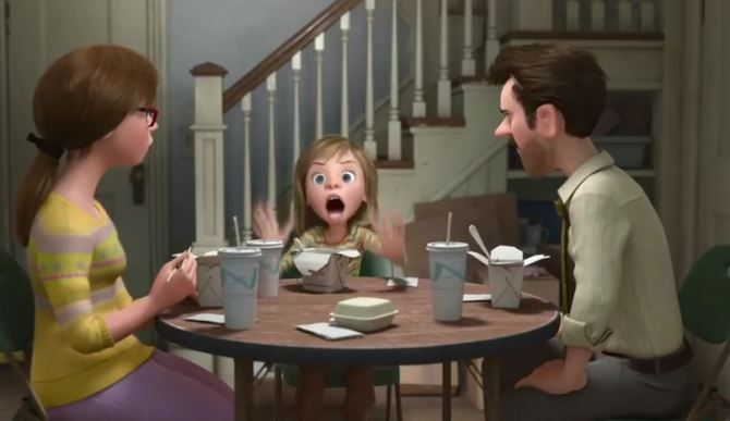 Still of the family, from Pixar's Inside Out (2015).